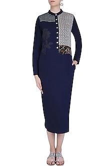 Navy Embroidered Motif Calf Length Shirt Tunic by Natasha J