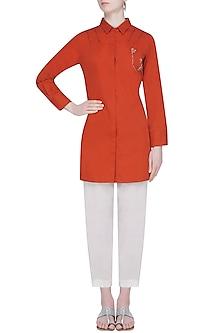 Lava Orange Embroidered Classic Shirt With Narrow Pants by Natasha J