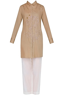 Khakhi Embroidered Classic Shirt With Narrow Pants