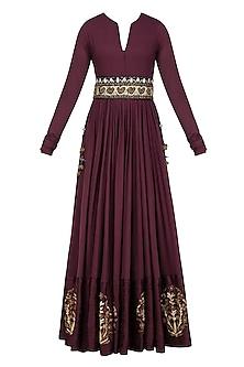 Mauve Zardozi Motifs Floor Length Anarkali with Embroidered Waistbelt by Natasha J