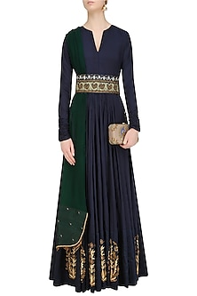Navy Blue Zardozi Motifs Floor Length Anarkali with Embroidered Waistbelt by Natasha J