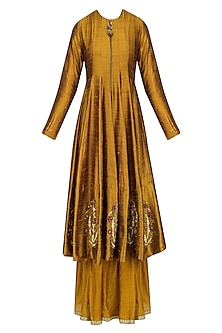 Ochre Zardozi Embroidered Flared Anarkali and Sharara Pants Set by Natasha J