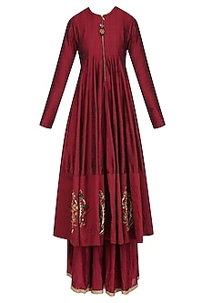 Maroon Zardozi Motifs Floor Length Anarkali with Embroidered Waistbelt by Natasha J