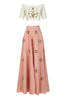 Off White Zardozi Embroidered off Shoulder Blouse with Rose Pink Sharara Pants by Natasha J