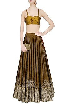 Brown Embroidered Flared Skirt with Ochre Floral Blouse by Natasha J