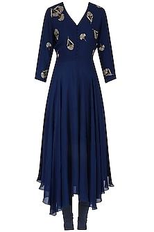 Cobalt Blue Beaded Carnation Kerchief Hem Kurta Set