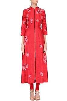 Red Traced Carnations Zipper Shirt Dress by Nachiket Barve
