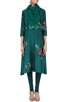 Teal Rose Bush Silk Trapezium Hem Kurta Set with Tassel Scarf by Nachiket Barve