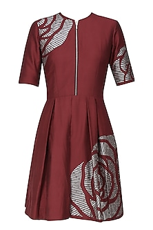 Maroon thread embroidered cutwork rose motif fit and flared dress