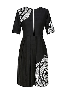 Black thread embroidered rose motif cutwork fit and flared dress by Nachiket Barve