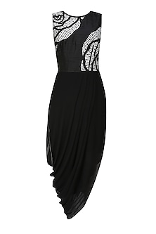 Black thread embroidered cutwork rose motif drape dress