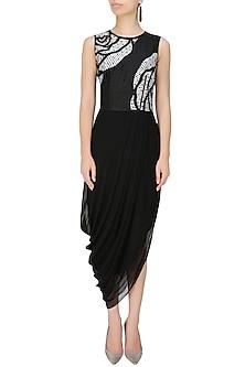 Black thread embroidered cutwork rose motif drape dress by Nachiket Barve