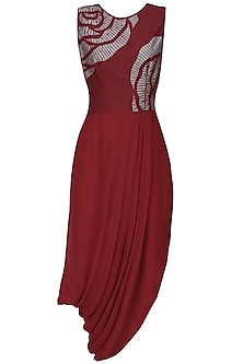 Maroon thread embroidered cutwork rose motif drape dress
