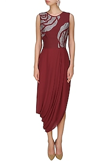 Maroon thread embroidered cutwork rose motif drape dress by Nachiket Barve