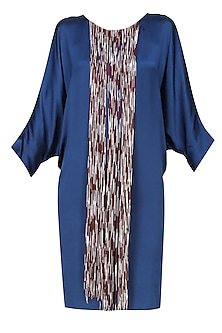 Cobalt blue piu piu tye and dye fringes satin dress