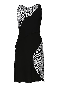 Black thread embroidered cutwork rose motif wrap panelled dress