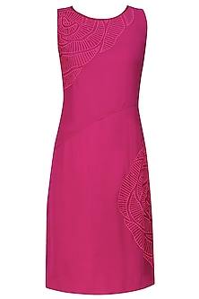 Pink thread embroidered cutwork rose motif wrap panelled dress by Nachiket Barve