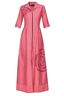 Pink thread embroidered cutwork rose motif long shirt dress