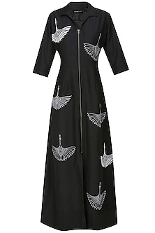 Black thread embroidered crane motifs shirt dress