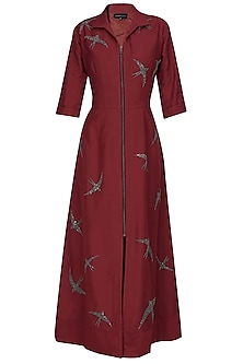 Maroon beads and sequins embroidered swallow motifs shirt dress by Nachiket Barve