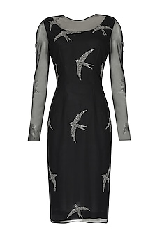 Black beads and sequins embroidered swallow motifs sheer dress by Nachiket Barve
