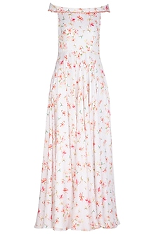 White Printed Off Shoulder Maxi Dress by Neha Chopra