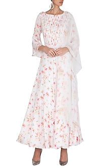 White Embroidered Printed Backless Anarkali Set by Neha Chopra