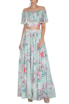 Blue Printed Crop Top With Embroidered Skirt by Neha Chopra