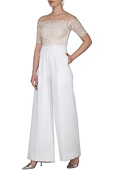 White Embroidered Off Shoulder Jumpsuit by Neha Chopra