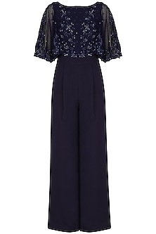 Navy Blue Embroidered Jumpsuit by Neha Chopra