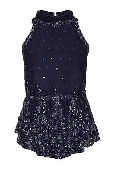 Navy Blue Embroidered Halter Neck Blouse by Neha Chopra