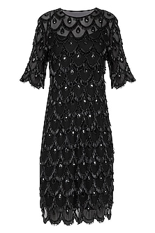 Black Embroidered Knee Length Dress by Neha Chopra