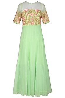 Mint Green & Peach Embroidered Anarkali Set by Neha Chopra