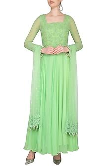 Mint Green Embroidered Anarkali Set by Neha Chopra