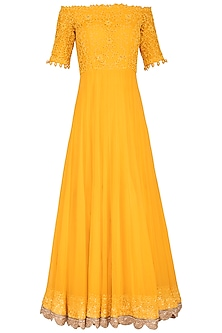 Mango Yellow Embroidered Off shoulder Anarkali Set by Neha Chopra