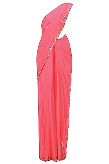 Neon Pink Pearls And Sequins Embellised Saree And Blouse Set by Neha Chopra