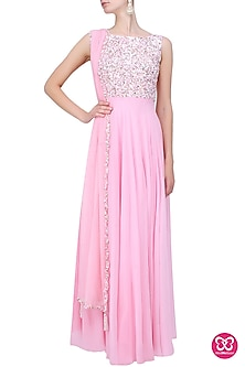 Baby Pink Pearls And Sequins Embellished Anarkali Set by Neha Chopra