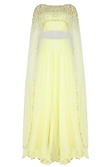 Lemon Yellow Pearls And Sequins Embellished Cape Blouse And Lehenga Set