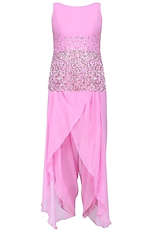 Mauve Pearls And Sequins Embellished Short Tunic And Lungi Dhoti Pants Set by Neha Chopra