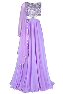 Lilac Pearls And Sequins Embellished Flared Cutout Gown With An Attcahed Drape