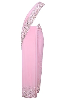 Baby Pink Pearls And Sequins Embellished Saree And Blouse Set by Neha Chopra