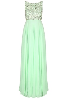 Mint Green Pearls And Sequins Embellished Flared Cutout Gown by Neha Chopra