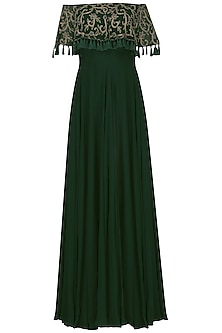 Emerald Green Off-Shoulder Gown