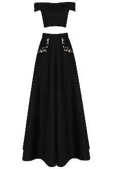 Black Off-Shoulder Crop Top and Skirt