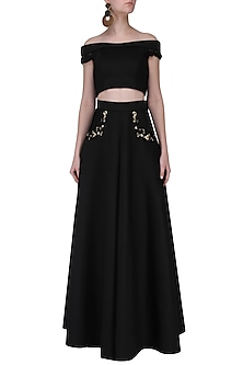 Black Off-Shoulder Crop Top and Skirt by Neha Chopra