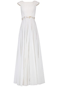 White Pleated Maxi Dress by Neha Chopra