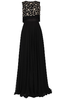 Black Embroidered Cape Gown