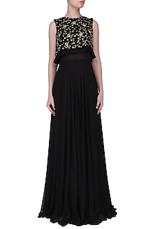 Black Embroidered Cape Gown by Neha Chopra