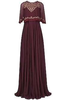 Marsala Embroided Cape Jumpsuit