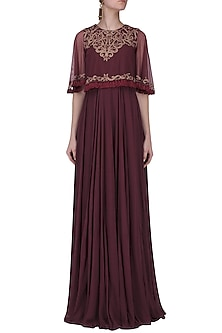 Marsala Embroided Cape Jumpsuit by Neha Chopra